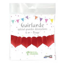 Guirlande coeurs 6 m - Rouge