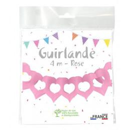 Guirlande deux cœurs 4m - Rose