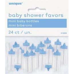 24 minis biberons bleus
