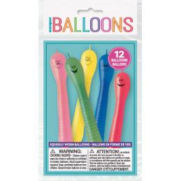 12 ballons latex Ver de terre
