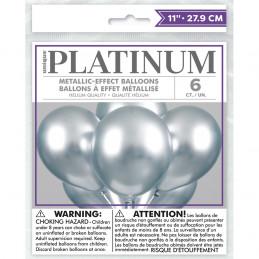 6 Ballons PLATINIUM Argent...