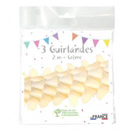 3 Guirlandes boa 2m - Crème