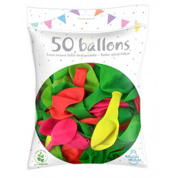 50 Ballons fluo 26 cm  - couleurs assorties