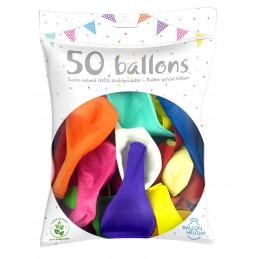 50 Ballons multicolores 30 cm