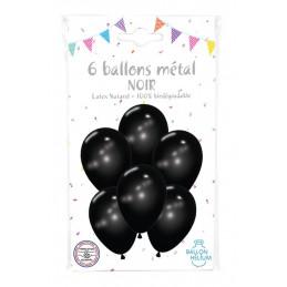 6 Ballons métal noir 30 cm