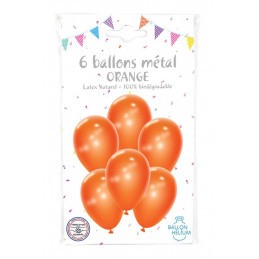 6 Ballons métal orange 30 cm