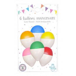 6 Ballons Bicolores 30 cm