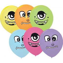 6 Ballons imprimés MONSTRES