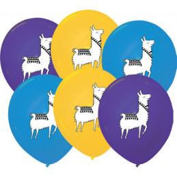 6 Ballons imprimés Lama