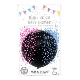 Ballon noir latex 40 cm Fille ou Garcon  + 2 sachets de confetti rose et bleu