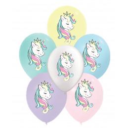6 Ballons latex pastel  LICORNE  30 cm