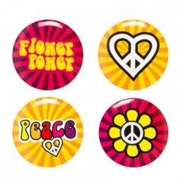 Set 4 Badges ronds Hippie 4...