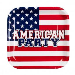 6 Assiettes carton AMERICAN...