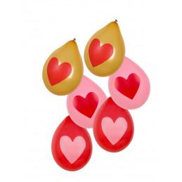6 Ballons impression coeur...